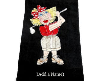 golf towel, personalized golf, custom hair color, embroidered towel, lady golfer, funny gift for her, mothers day, bridal party, birthday