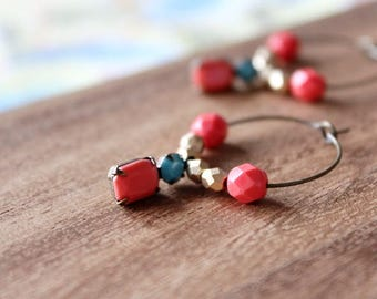 coral pink, light turquoise vintage glass - coral pink and gold czech glass hoop earrings