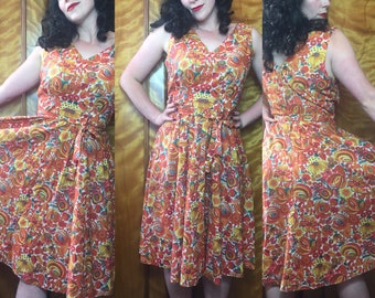 Vintage 70s does 1950s cotton mexican bold floral print dress uk14