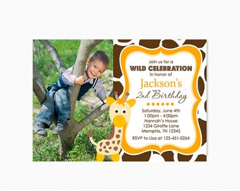 Giraffe Birthday Party Invitation, Boy Giraffe Birthday Party Invitation, Giraffe Invites, Printable and Printed