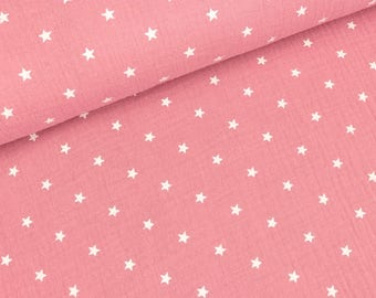 Cotton Muslin Double Gauze star white on Pink (11.50 EUR/meter)