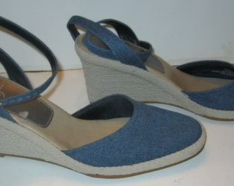 1980s 1990s Espadrilles Life Stride Wedge Ankle Strap Denim Shoes Braided Rope High Heels Summer Sandal Shoes Size 9 1/2 N