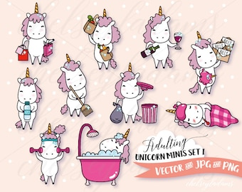 Adulting Unicorn Clip Art Set, DIY Planner Stickers Designs, Vector Clipart Graphics, Cute, Kawaii Commercial Use, Chibi Unicorns, Chores