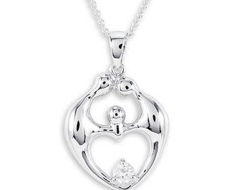 925 Sterling Silver CZ Family Eternity Heart Necklace