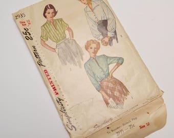 1940s ladies shirt blouse, simplicity 2935