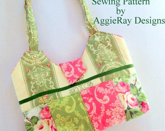 INSTANT DOWNLOAD PDF Sewing Pattern Handbag Purse:Quilted Handbag Purse Tote