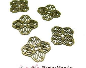 30 spacer beads, BRONZE flower 18mm H35024 style connector, DIY