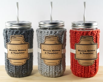 Mason Mitten & Tumbler Set || Knitted Mason Jar Cozy, Tumbler and Reusable Straw + Choose Your Color