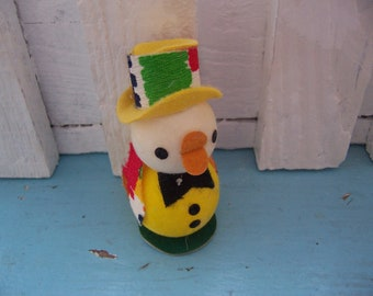 little styrofoam ducky with colorful hat