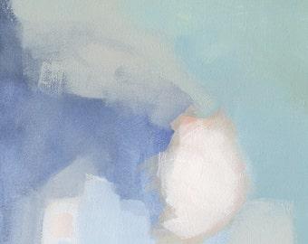 Pastel Abstract Painting Print, Blue Print Art, Large Canvas Art Print, Abstract Canvas Blue Wall Decor, Abstract Artwork Framed Decor Helen