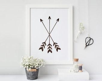 Arrow print, Printable Arrows Print, Gallery Wall Prints, Tribal Wall Art, Watercolor Dorm Decor, Nursery Decor Boho, Printable Art
