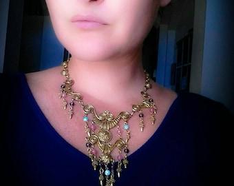 Vintage Gold tone Dangling Bib Necklace