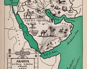 1940's ARABIA Picture Map of Saudi Arabia Print Map of Iran and Iraq Pictorial Map Travel Map Gallery Wall Art Home Decor