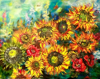 Extra large original oil painting   Sunflowers, Floral Palette Knife Flowers