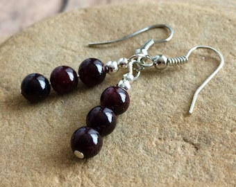 Garnet Earrings, Red Earrings, Natural Stone Earrings, Garnet Jewelry, Lucky Earrings, Chakra Jewelry, Love. Compassion Crystals