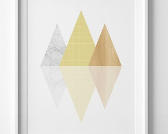downloadable prints, Triangle wall art, gold print, marble print, triangle print, printable art, gold triangle poster, wall art printable
