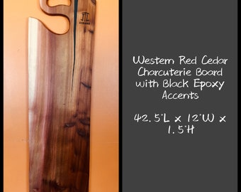 Western Red Cedar Charcuterie Board with Black Epoxy Accents