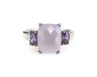 Sterling Silver Amethyst Iolite Ring - Gemstone Ring, Purple Stone, Sterling Silver, Vintage Ring, Size 8.5
