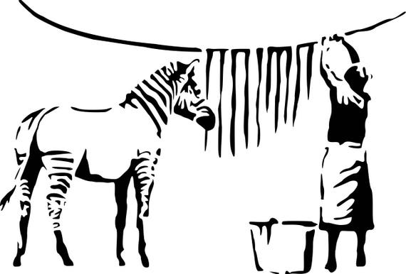 Banksy Zebra Streifen waschen Lady Wand Aufkleber Aufkleber