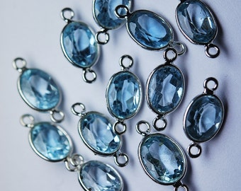925 Sterling Silver,Sky Blue Topaz Faceted Oval Shape Connector,6 Piece 14mm approx