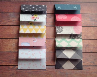 Mini envelopes, mixed print envelopes, handmade envelopes, set of 10 envelopes, envelopes,