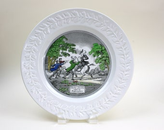 """English Ironstone Plate, Transferware Plate, Doctor Syntax Story Plate, Adams China, England, 10.5"""" Plate, c1966, Vintage China Plates"""