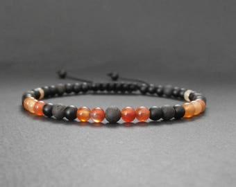 Mens natural carnelian stones, matte black onyx and lava stone bracelet