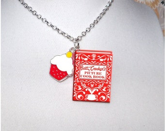 Cookbook with Enamel Cupcake  Charm - Miniature Book Necklace