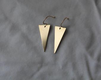 Gold Triangle Dangle Earrings- Brass Triangle Earrings- Triangle Drop Earrings