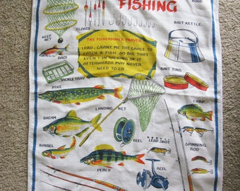 Vintage 70's/80's Fishing  Linen Tea Towel - Kitchen Towel -