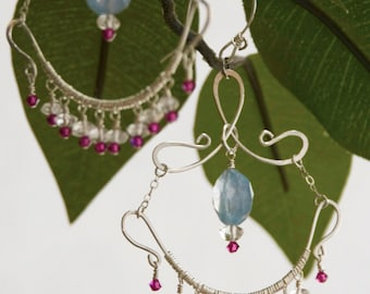 Gemstone Wirewrapped Sterling Silver Chandelier Earrings with Blue Quartz, Crystal Quartz, Magenta Crystals