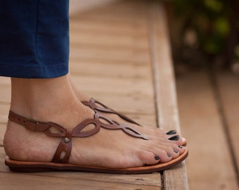 Brown Leather Sandals, Flat Sandals, Summer Shoes, Brown Sandals , Free Shipping