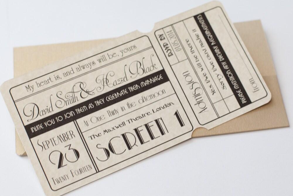 Cinema Movie Ticket Wedding Invitation with Wallet Ivory &