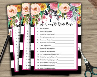 Who Knows The Bride Best - Bridal Shower - Game Cards - Black & White - Floral - PRINTABLE - INSTANT DOWNLOAD diy - Bachelorette Party - L11