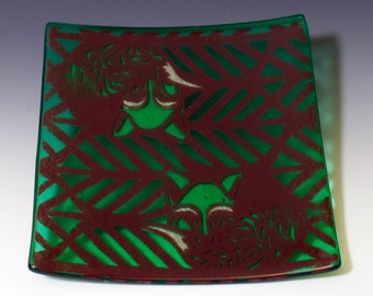 """SALE Foxes Fused Glass 8"""" Platter"""