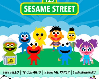 Sesame Street PNG, Sesame Street Clipart, Sesame Street Party,  Instant Download,  PC14