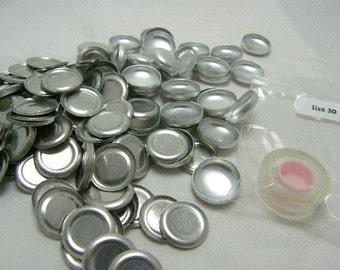"""100 Aluminum Flat Back Self Button Covers Size 30 (3/4"""")"""