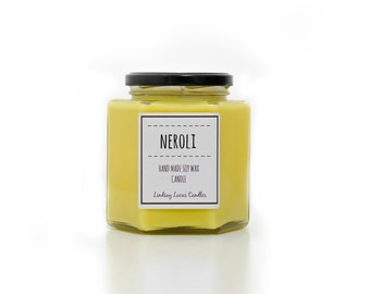 Neroli Candle, Neroli Scented Candle, Floral Scented Candle, Citrus Scent, Strong Scented Candle, Soy Wax Candle, Citrus Candle