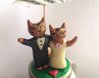 Small custom cat wedding cake topper, Super Fun Animal Figurine Wedding Unique Cat Lover cupcake/cake topper Sweet elegant figurine wedding