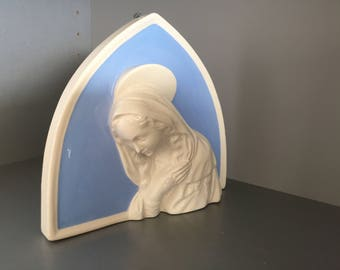 Italian Majolica Madonna Wall Plaque, Terracotta Della Robbia Blue, Virgin Mary Wall Plaque,