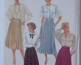 Vintage 1980's Simplicity 6992 Sewing Pattern Misses' Front Wrap Skirts in Two Lengths Pleated Skirt UNCUT Size 14 Waist 28