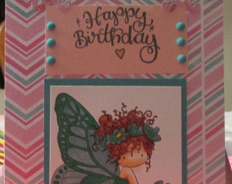 Happy Birthday butterfy girl sitting