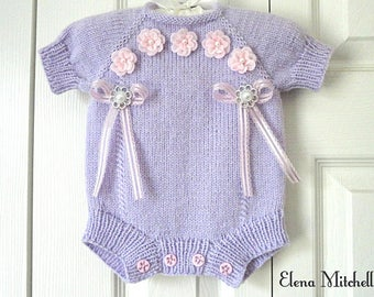 Baby Romper Knitted Baby Girl Clothes Newborn Girl Crochet Baby Outfit Crochet Romper Baby Shower Knitted Baby Outfit