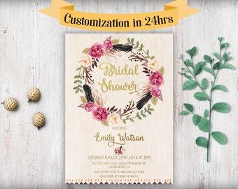 Bridal Shower Invitation Printable Boho Bridal Shower