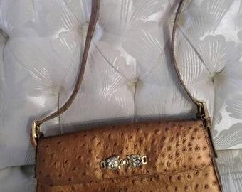 Timothy Hitsman Handbag Faux Ostrich Jeweled Jaguar Vintage rare