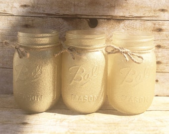 Set of 3 Hand painted Gold Glitter Mason Jars, Spring Mason Jars, Wedding Centerpieces, Teachers Gifts, Spring Wedding, Rustic Decor!