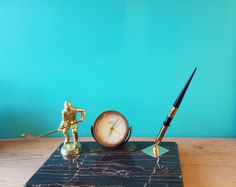 Hockey Dad Desk Clock and Pen Stand - 1960's - West Germany