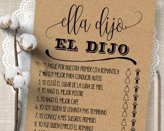 He Said She Said game in Spanish, Ella dijo, El dijo game, printable Bridal Shower games, G308
