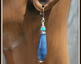 Blue Jade Earrings, Denim Blue Jade Earrings, Jade Teardrop Earrings, Dyed Jade Earrings, Jade and Turquoise Earrings, Blue Teardrops