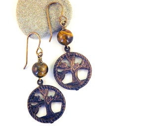 Golden Tiger eye Earrings, tree of life charm, Natural Brass Jewelry